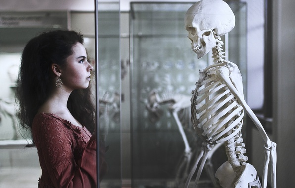 Picture girl, background, skeleton