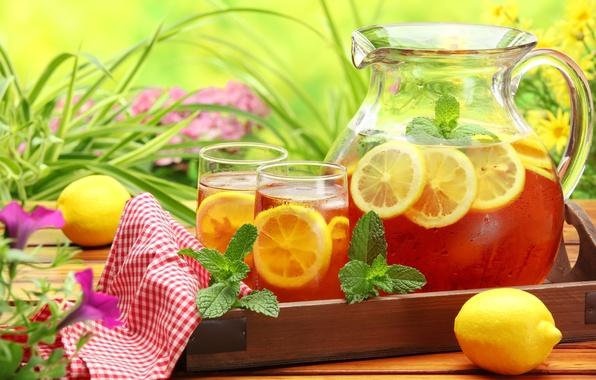 Picture greens, flowers, table, lemon, tea, glasses, cold, drink, mint, napkin, decanter