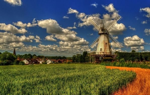 Picture field, clouds, England, Kent, village, mill, England, Kent, Woodchurch, Lower Mill, Woodchurch