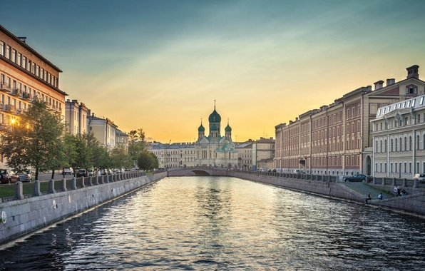 Picture the sky, trees, bridge, river, sunrise, home, morning, Peter, Cathedral, Saint Petersburg, Russia, Neva, Saint-petersburg