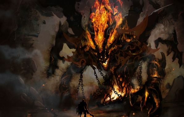 Picture fire, the demon, warrior, horns, cave, chain