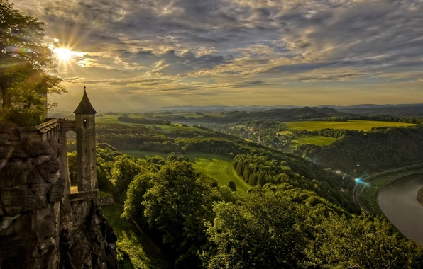Picture sunset, river, field, Germany, panorama, Germany, Saxony, Saxony, King stone, Königstein, Königstein Fortress, Elbe River, …