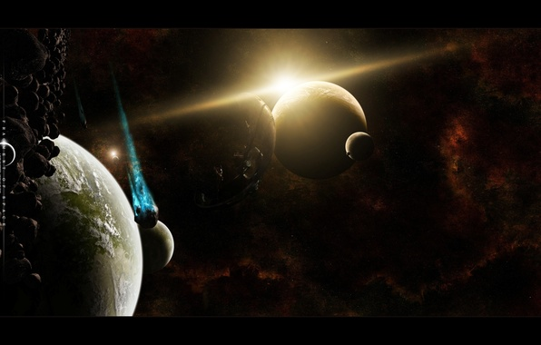 Picture stars, asteroids, universe, infinity, planets, deep space