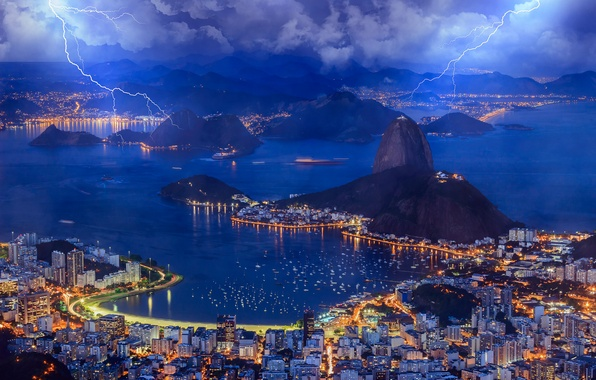 Picture the sky, clouds, lights, zipper, Bay, the evening, Bay, Brazil, the city of Rio de …
