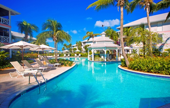 Picture the sky, palm trees, vacation, pool, chaise, the hotel, gazebo