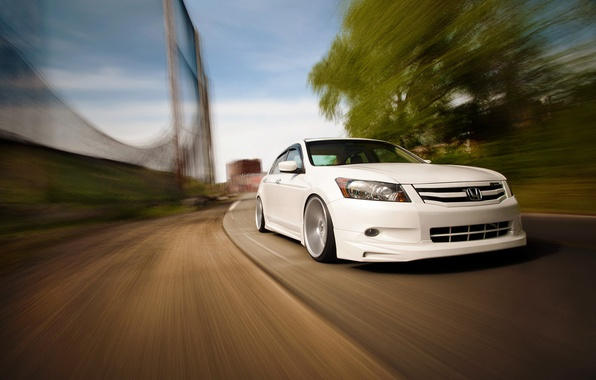 Picture movement, speed, white, before, honda, Honda, accord, Tuning, chord, Vossen