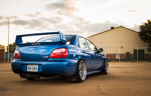Picture Subaru, back, blue, blue, wrx, impreza, Subaru, sti, Impreza