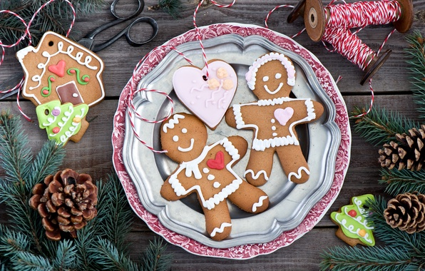 Picture winter, branches, heart, food, spruce, men, New Year, cookies, Christmas, sweets, house, tree, thread, Christmas, …