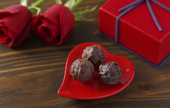 Picture love, chocolate, roses, candy, red, love, heart, romantic, chocolate, Valentine's day, gift, roses