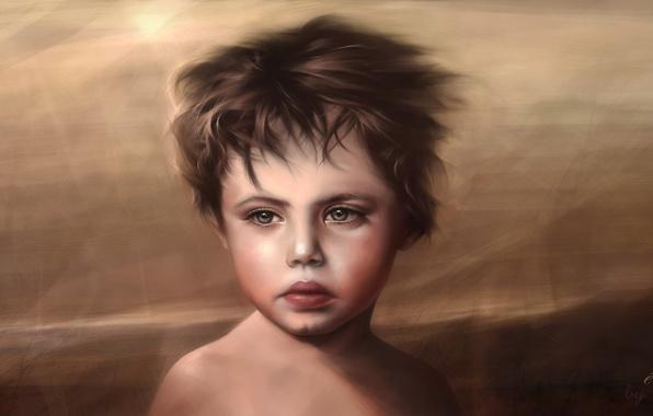 Picture sea, the wind, ship, boy, child, antique, Renaissance, era