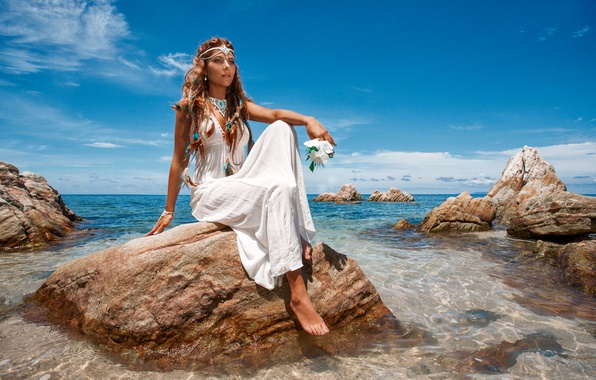 Picture sea, the sky, girl, the sun, decoration, coast, dress, horizon, hairstyle, brown hair, sitting, in ...