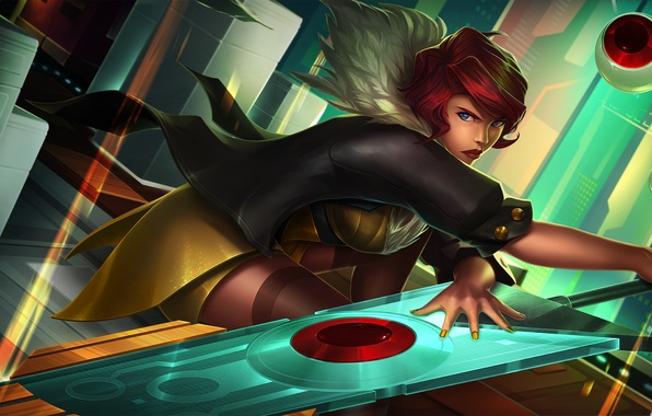 Picture girl, sword, dress, art, Red, Transistor, SuperGiant Games