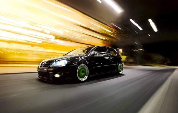 Picture black, volkswagen, Golf, golf, Black, Volkswagen, stance, MK5, in motion
