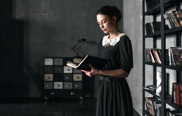 Picture girl, retro, books, dress, vintage