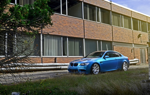 Picture blue, the building, Windows, BMW, BMW, side view, e92, Atlantis Blue