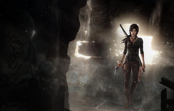 Picture girl, skull, bow, skeleton, cave, revolver, lara croft, tomb raider
