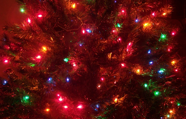 Picture decoration, lights, tree, new year