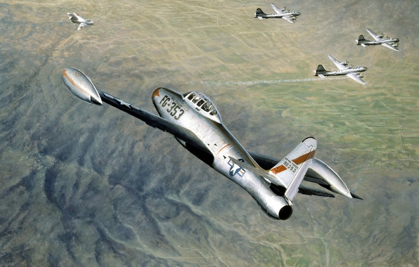 Picture the sky, figure, battle, art, fighters, bombers, aircraft, The MiG-15, Lockheed, B-29, strategic, The Korean …