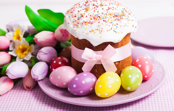 Picture eggs, Easter, tulips, cake, cake, cakes, tulips, glaze, spring, Easter, eggs, holiday, decoration, blessed