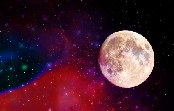 Picture stars, the moon, glow