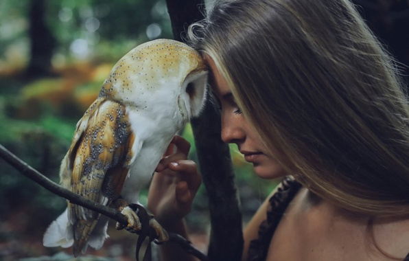 Picture girl, owl, friendship, pet