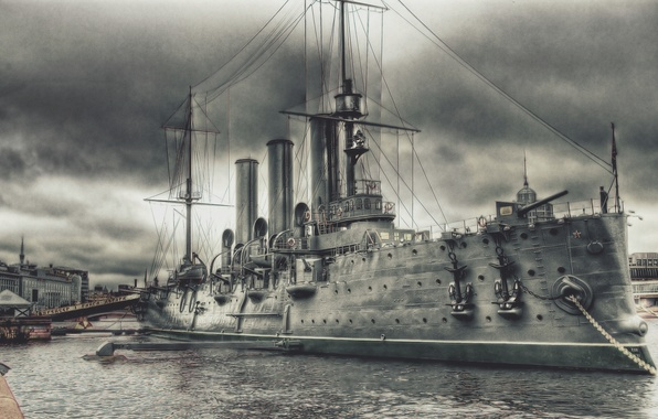 Picture Pier, Figure, River, Ship, Aurora, Cruiser, Military, Armored cruiser