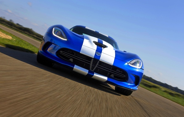 Picture Auto, Blue, Strip, Dodge, Dodge, Lights, Viper, GTS, SRT, The front, Sports car