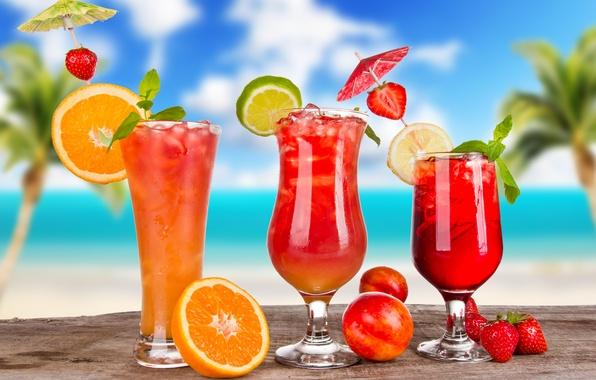 Picture ice, summer, berries, lemon, orange, glasses, strawberry, umbrellas, lime, fruit, citrus, cocktails, cocktails