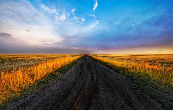 Picture road, field, the sky, 152, tables