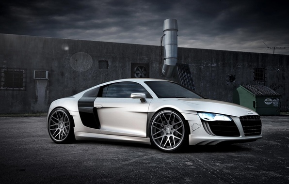 Picture machine, Audi, white, supercar
