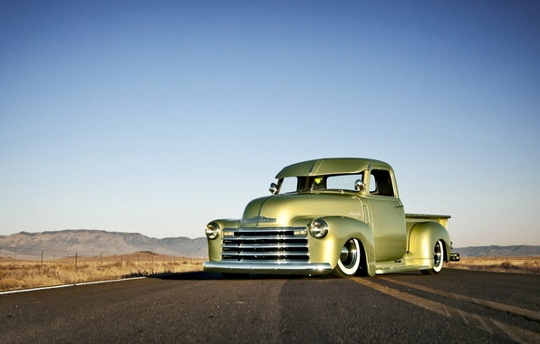 Picture Chevrolet, wheels, road, sky, front, hill, horizon, 1949, headlight, chopped