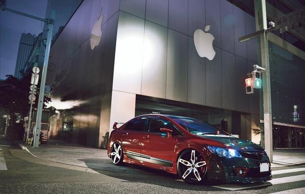 Picture city, the city, street, apple, the evening, Honda, Honda, Civic, Civic