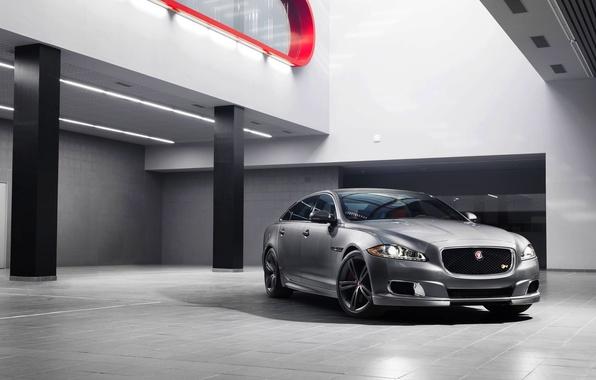 Picture Jaguar, Auto, Jaguar, Silver, Sedan, Lights, The front, The room, 2014, XJR