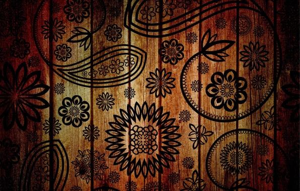Picture flowers, background, tree, patterns, figure, texture, petals