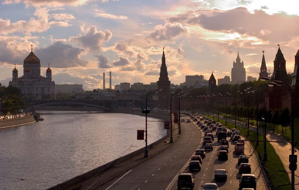Picture road, the sky, clouds, sunset, river, building, the evening, The city, lights, Moscow, the Kremlin, …