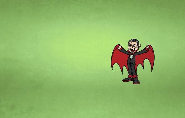 Picture minimalism, vampire, green background, Dracula, vampire, dracula