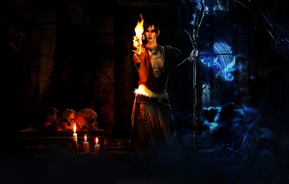 Picture fire, web, candles, skull, witch, Morrigan, Dragon Age