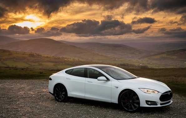 Picture white, Tesla, Model S, P85