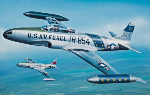 Picture war, art, painting, aviation, jet, Lockheed P-80/f-80 Shooting Star