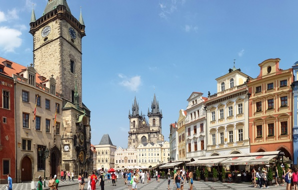 Picture people, street, watch, tower, home, Prague, Czech Republic, area, panorama