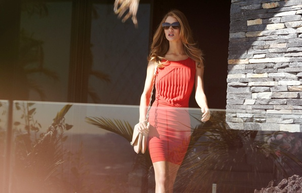 Picture girl, red, model, dress, actress, glasses, blonde, handbag, Rosie Huntington-Whiteley, Rosie Huntington-Whiteley