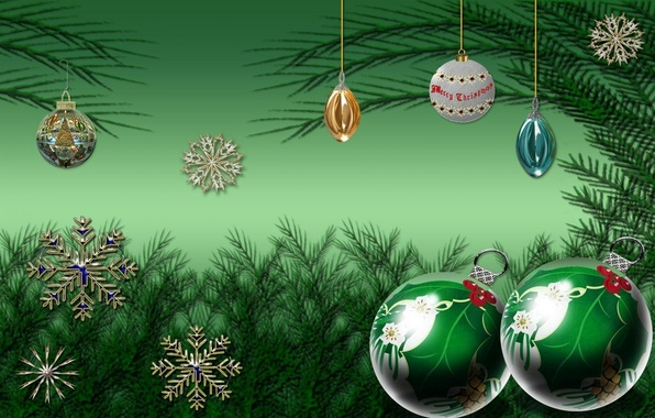 Picture snowflakes, balls, Christmas, New year, green, green background, Christmas decorations, tree branches