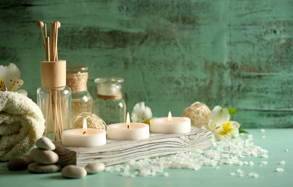 Picture stones, oil, towel, candles, Spa, salt