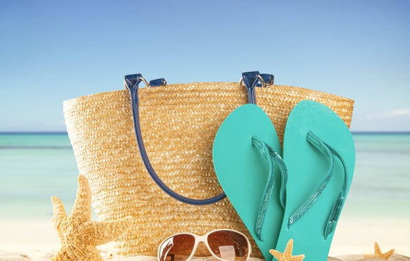 Picture sand, sea, beach, summer, the sun, stay, glasses, summer, bag, beach, vacation, sea, sun, slates, …