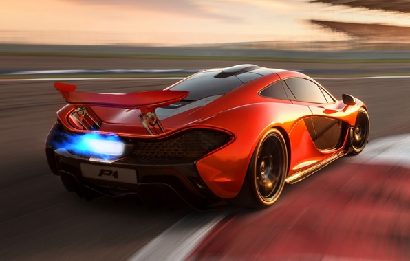 Picture Concept, orange, McLaren, the concept, supercar, rear view, McLaren, flame.racing track