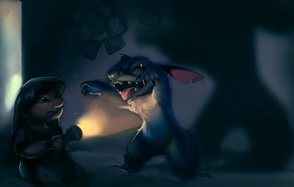 Picture night, room, dark, girl, lantern, alien, Stitch, Lilo and Stitch, Lilo