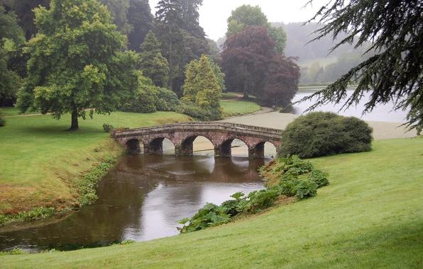 Picture England, Mountains, Bridge, Grass, Trees, River, The bushes, Park, Stourhead, The landscape Park, Stored