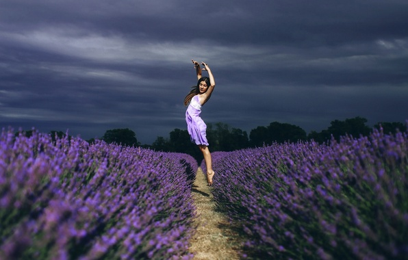 Picture field, girl, flowers, mood, jump, dance, lavender