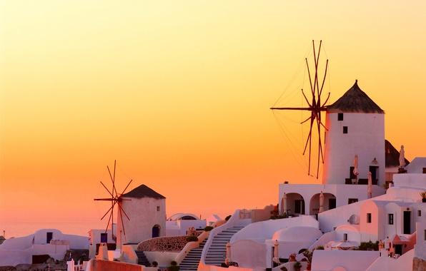 Picture sunset, the city, home, the evening, Santorini, Greece, mill, Santorini, Oia, Greece, wind