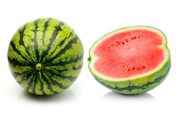 Picture watermelon, berry, white background, half, a